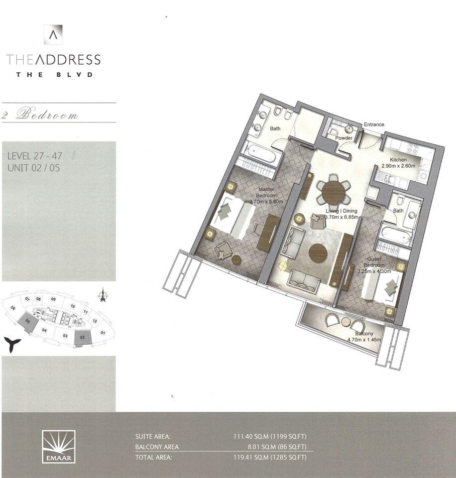 The Address Boulevard Downtown Dubai Emaar Floor Plan (1