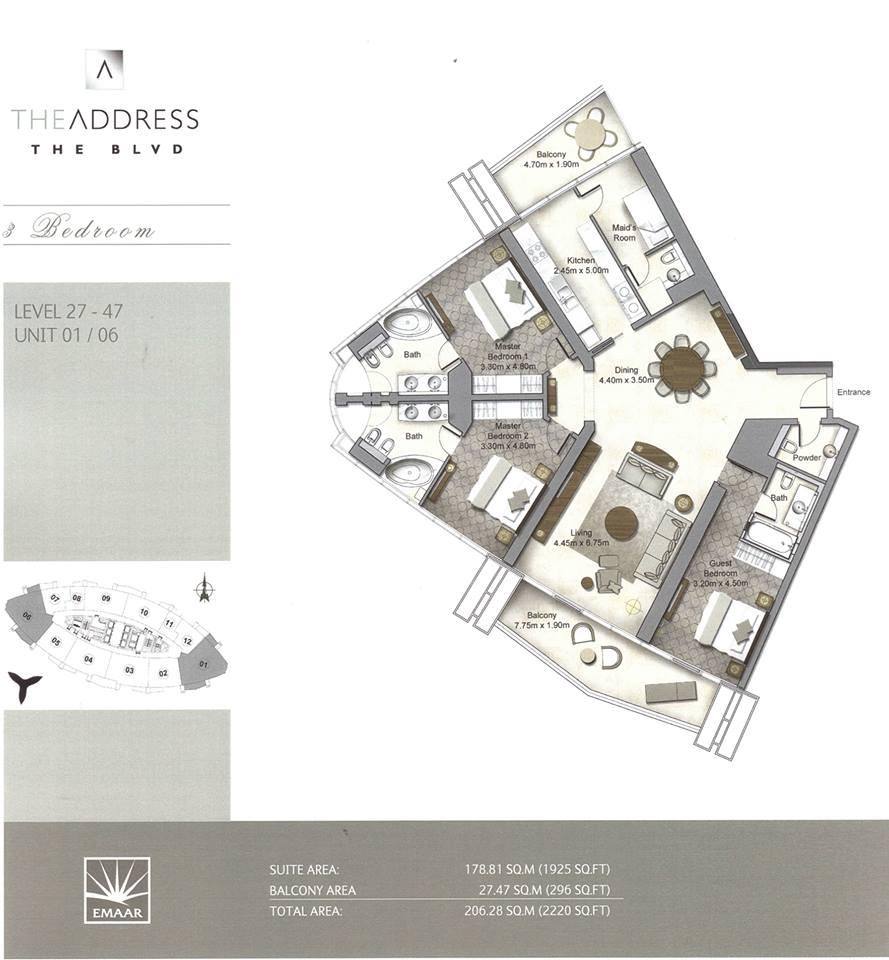 The Address Boulevard Downtown Dubai Emaar Floor Plan 2 Dubai International Real Estate Broker
