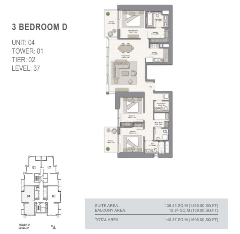 5242 tower 1 emaar dubai marina jbr floor plan 3 bedroom