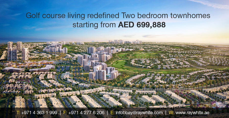 Golf course living redefined Two bedroom townhomes  starting from AED 699,888